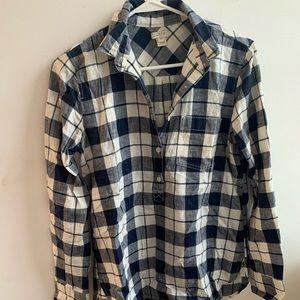 J. Crew Flannel Half Button Top
